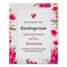 Watercolor Flowers Wedding Instagram Sign Print