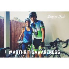 Day 10 Facts:  Friends - We're about to start our ride on September 26th and I can use some help to raise money for the Arthritis Foundation! Here's another fact for today... In the early stages people with Rheumatoid Arthritis (RA) may not initially see redness or swelling in the joints but they may experience tenderness and pain.  These following joint symptoms are clues to RA: -Joint pain tenderness swelling or stiffness for six weeks or longer -Morning stiffness for 30 minutes or longer…