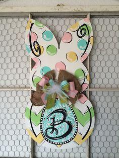 Easter Bunny Monogram Door Hanger by LaurieColeDesigns on Etsy