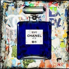 CHANEL JAPAN Pop Art Fashion and Faces Beautiful original painting with mixed media technique Cobra Art Company