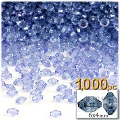 Plastic beads, Rondelle Transparent, 6x4mm, 1000-pc, Light Blue