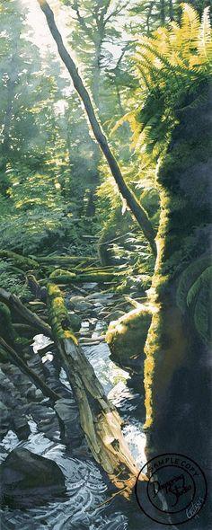 Stream in Shimmering Sun watercolor(!) by Carol Evans