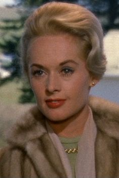 Tippi Hedren. Still stands up, this great movie, The Birds, about the violence precipitated by a jealous, possessive mother toward the gals her son is dating--hen pecking writ into horror. Great stuff, Hitchcock.