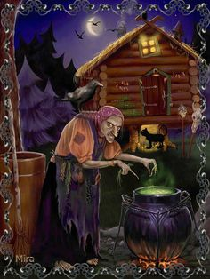 In Slavic folklore, Baba Yaga is a supernatural being who appears as a deformed scary-looking woman. She is well known by all Russian children because parents frightened them with Baba Yaga. Halloween Vintage, Fröhliches Halloween, Halloween Pictures, Halloween Cards, Holidays Halloween, Halloween Decorations, Halloween Illustration, Samhain, Witch Pictures