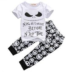 0f6b5858831b 2 Pcs Jack Skellington Set 3-18M – Bitty Botty Baby Outfits For Baby Boys