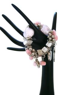 Chunky Pale Pink Beads Silver Tone Heart Ladies Stretch Charm Bracelet New