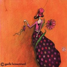 "Flower: ""Girl with Pink Daisy"" postcard by Gaelle Boissonnard"