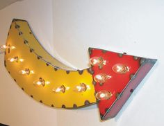 Curved Arrow Vintage Industrial Hanging Metal Sign & Light Art by Mitch Levin