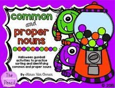 This is a quick and easy way to practice identifying common and proper nouns. Students work together to place the gumballs on the correct machine, and then complete the recording sheet. Have fun!