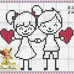 Valentine couple cross stitch.