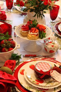 Strawberry Festival Tablescape: the tablescape is OK,  but I do like the idea of a strawberry themed table
