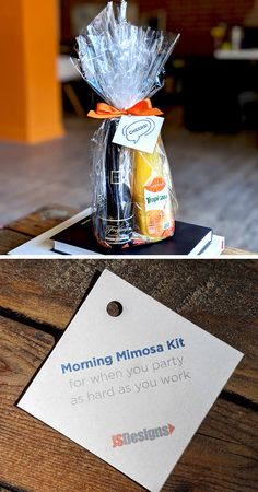 We created a mimosa kit as a party favor for our recent event Mimosa Party, Brunch Party, Mimosa Brunch, Birthday Brunch, 50th Birthday Party, Favorite Things Party, Party Favors For Adults, Cocktail Gifts, Baby Shower Brunch