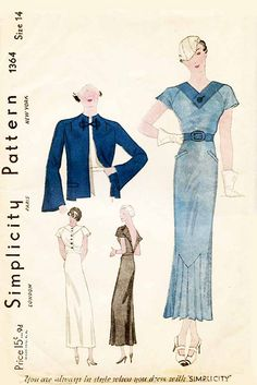 Simplicity 1364 1930s sewing pattern
