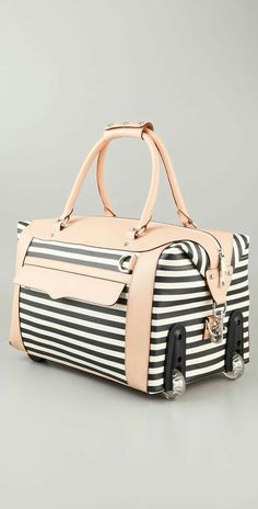 The good news: I finally picked out a luggage set. The bad news: please make sure I get the entire set and not just 1 piece :) Make my dreams come true!:) Rebecca Minkoff, Striped Wheelie Bag, Coated C Cute Luggage, Luggage Sets, Travel Luggage, Travel Bags, Travel Backpack, Extreme Metal, Rebecca Minkoff, Sup Yoga, Striped Bags