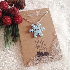 Blue Sparkling Snowflake - polymer clay jewelry