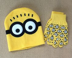 a7f1ba2add2 New Just Arrived Retail 1 set Minions Free shipping baby boys 2016 Children  Dave cartoon winter knitted hat and gloves-in Hats   Caps from Mother    Kids on ...