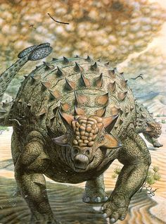 Hallett's rendition of the famously spiny ankylosaur, Saichania.