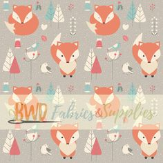 BWD Exclusive - Orange Winter Foxes on Cotton Spandex Jersey Knit Fabric
