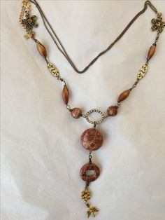 Copper and golden long statement necklace