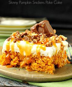 Skinny Pumpkin Snickers Poke Cake with Whipped Cream Frosting Recipe - RecipeChart.com