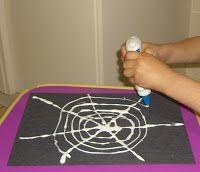 Preschool Crafts for Kids*: Halloween Chalk Spider Web Craft