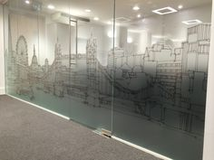 The London Look. Manifestation with stencil scene on full height glass.