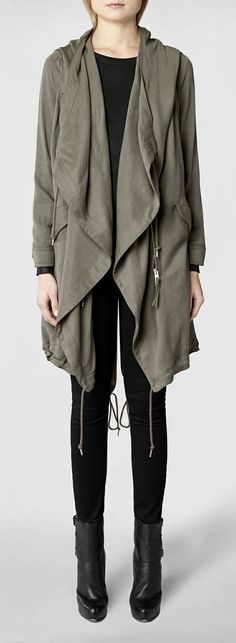 My jacket! Best thing ever and can be worn different ways. All Saints Portere Parka Jacket $515 CAD @ http://www.ca.allsaints.com/women/coats/allsaints-portere-parka-jacket/?colour=16&category=117