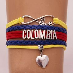 Buy Infinity Love Colombia Country Bracelet Heart Charm Wrap Rope Bracelets Bangles at Wish - Shopping Made Fun Heart Bracelet, Bangle Bracelets, Bangles, Colombia Country, Colombian Culture, Infinity Love, Bracelet Making, Heart Charm, Cuba