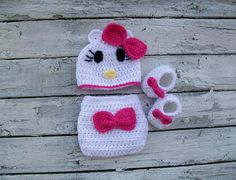 Hello Kitty crochet pattern PDF Pattern  Perfect for the first photo pictures. Very easy and quickly done. This crochet pattern is for a baby prop set. Crochet diaper set. Crochet diaper, crochet booties, and crochet hat. Can be made in pink, red, orange, any pretty little girl color.