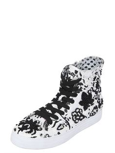 LK - EMBELLISHED CANVAS HIGH TOP SNEAKERS - LUISAVIAROMA - LUXURY SHOPPING WORLDWIDE SHIPPING - FLORENCE