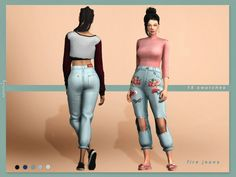 The Sims Resource: Fire jeans by serenity-cc • Sims 4 Downloads