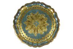 """Round Blue & Gold Florentine Tray, 11.75""""W  $115 SOLD"""