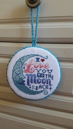 Completed finished cross stitch ornament Valentine's Day