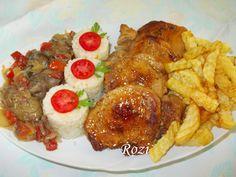 Rozi erdélyi,székely konyhája: Karajszeletek,lecsós csirkemájjal