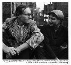 William S. Burroughs & Alene Lee talking on the roof of Allen Ginsberg's apartment building in New York City in 1953; text written by Allen Ginsberg.
