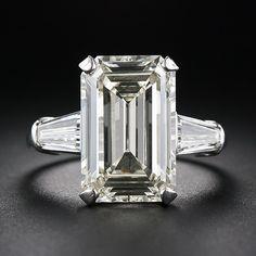 2.42 Carat Diamond and Calibre Sapphire Art Deco Ring