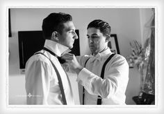Groom and best man. Groom getting ready. Black and white. Ceremony at St. Rita's Church. Wedding at Springfield Country Club. Philadelphia Wedding Photographer | Gerard Tomko.