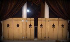 Kindred Spirit Primitives Primitive Wooden Shutters and Shelves Wooden Shutters, Kindred Spirits, Primitives, Different Styles, Shelves, Curtains, Ideas, Home Decor, Wood Shutters