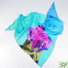 Turquoise Silk Scarf Handpainted, Hibiscus Hand Painted Silk Scarf, Chiffon Scarf, Handmade Scarf Shawl Unique Handmade Scarves, Floral by SilkFantazi on Etsy