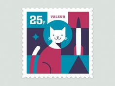 Designspiration — Dribbble - Space Animal Stamp Series - Félicette by Eric R. Mortensen