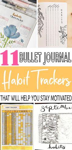 These habit tracker ideas will help me stay motivated in my bullet journal! #bulletjournal #bujo #habittracker