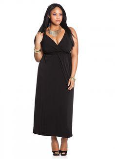 1af8ab76c60 Ashley Stewart  Waist Trim V-neck Plus Size Maxi Anita Marshall