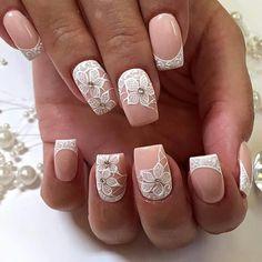 3d Nails, Pink Nails, Cute Nails, Bride Nails, Wedding Nails, French Flowers, Bridal Show, Flower Nails, Cool Nail Art