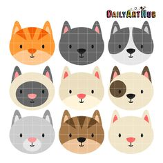 Cat Heads Digital Clip Art for Scrapbooking Card by DailyArtHub