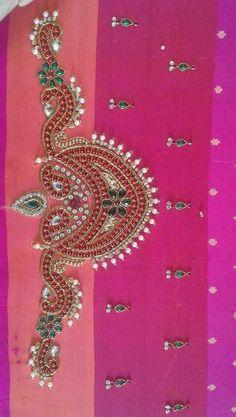 Blouse beads Wedding Saree Blouse Designs, Silk Saree Blouse Designs, Blouse Patterns, Hand Work Blouse Design, Simple Blouse Designs, Border Embroidery Designs, Bead Embroidery Patterns, Aari Embroidery, Stitching Patterns