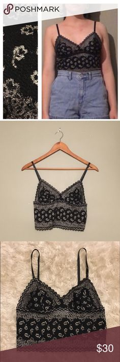 boho festival tank bralette super super cute tank / bralette. Would best fit xs-sm, 32D max. No flaws, actual brand is Oscar de la Renta (which is a really great brand) but listed under FP because it's more this style + exposer. Model is 125 pounds, small, 32D. Free People Intimates & Sleepwear Bras
