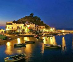 Kokkari village at night, Samos island, Greece