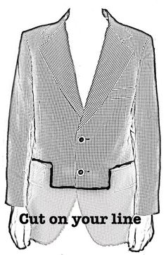 Materials: Suit Coat Piece of Chalk Scissors Pins and/or Safetypins Needle & Thread or Fabric Glue
