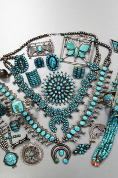 A collection of antique Silver and Turquoise jewelry posted by Perry Null Trading. Some exceptional spiderweb jewelry is pictured.
