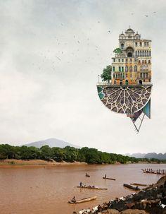 Les collages surréalistes darchitectures flottantes de Matthias Jung 2Tout2Rien